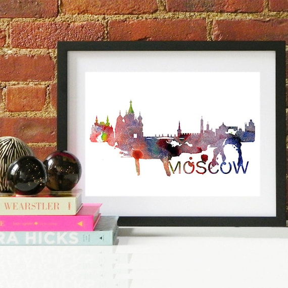 Moscow Watercolor Skyline, Moscow Skyline, Moscow Art, Moscow Poster, Moscow Print, Moscow Art, Moscow Map, Moscow Wall Art, Russia Art