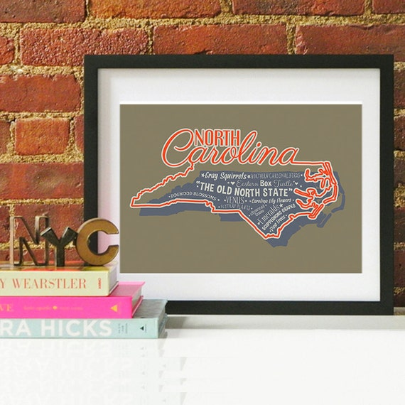 North Carolina State Print North Carolina Art North Carolina Poster North Carolina Print