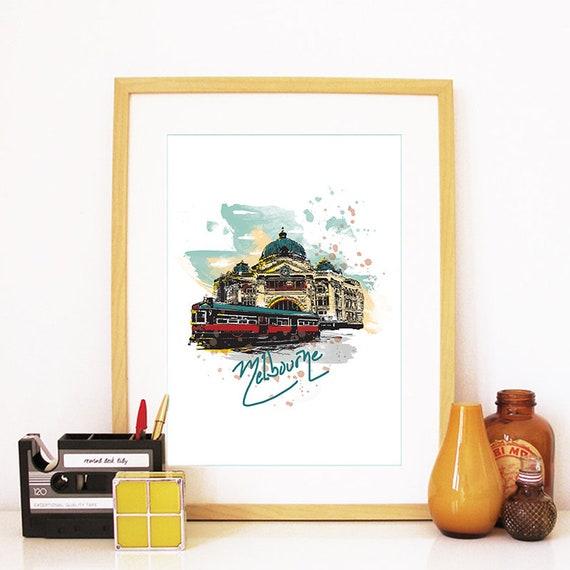 Melbourne Print, Melbourne Skyline, Melbourne Art, Melbourne Poster, Melbourne Watercolor, Melbourne Art Print, Melbourne Map, Melbourne