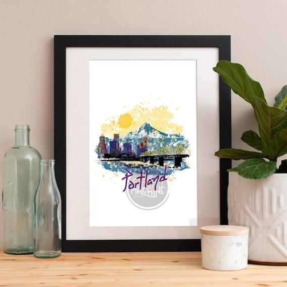 Portland Print, Portland Skyline, Portland Art, Portland Poster, Portland Watercolor, Portland Art Print, Portland Map, Portland Wall Art
