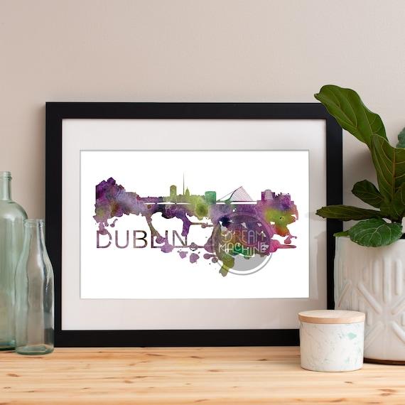 Dublin Watercolor Skyline, Dublin Skyline, Dublin Art, Dublin Poster, Dublin Print, Dublin Art, Dublin Map, Dublin Wall Art, Ireland Art