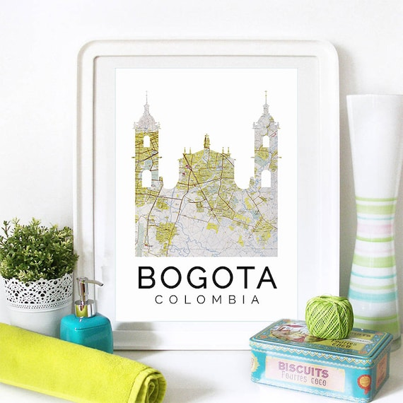 Bogota Print, Bogota Skyline, Bogota Art, Bogota Poster, Bogota Watercolor, Bogota Art Print, Bogota Map, Bogota Wall Art, Colombia Art