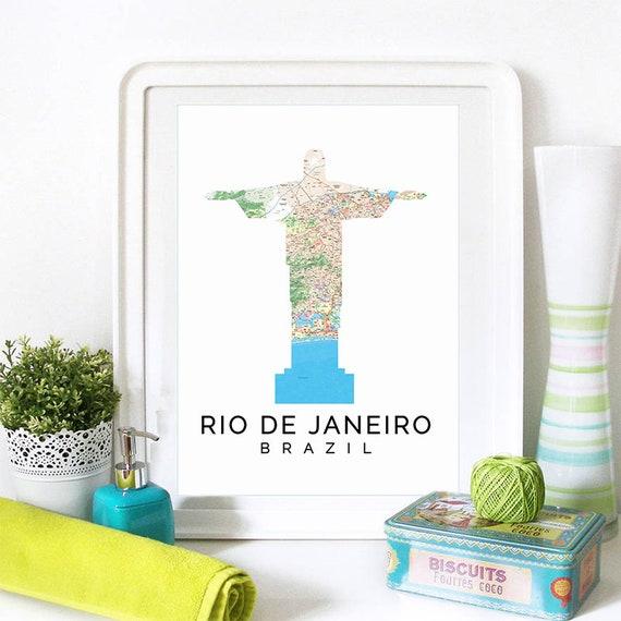 Rio de Janeiro Print, Rio de Janeiro Skyline, Rio de Janeiro Art, Rio de Janeiro Poster, Rio de Janeiro Watercolor, Rio de Janeiro