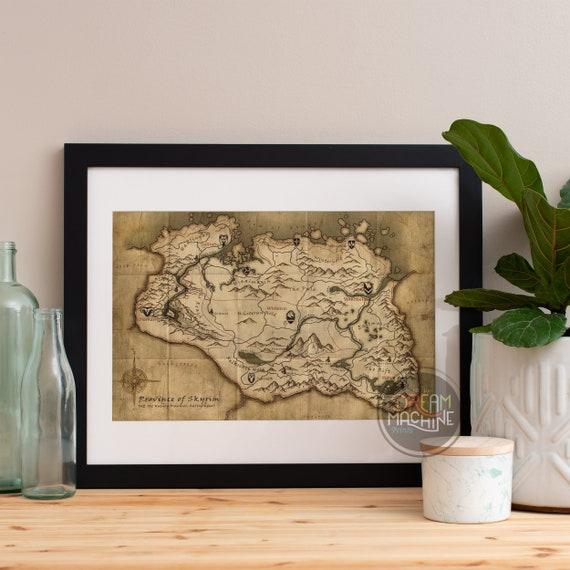 Skyrim Map, Skyrim Poster, Skyrim Art, Skyrim Print, Skyrim Art Print, Elder Scrolls, Skyrim Elder Scrolls, Dragonborn, Skyrim Map Print