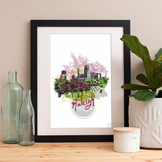 Raleigh Print, Raleigh Skyline, Raleigh Art, Raleigh Poster, Raleigh Watercolor, Raleigh Art Print, Raleigh Map, Raleigh Wall Art