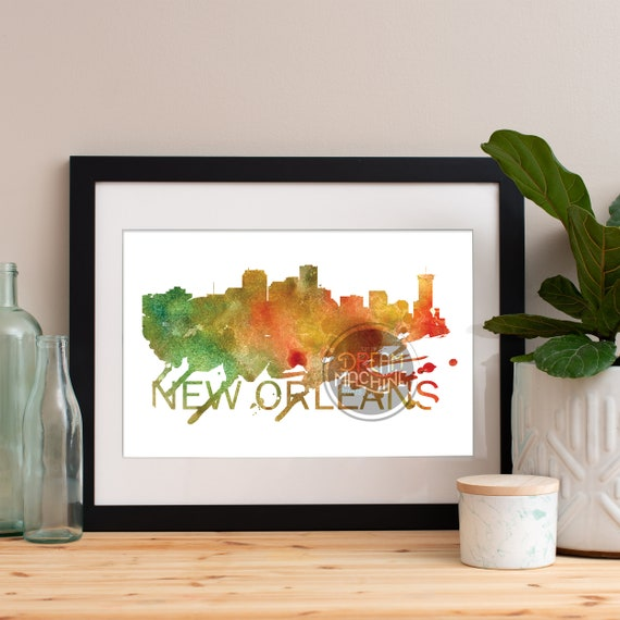 New Orleans Watercolor Skyline, New Orleans Skyline, New Orleans Art, New Orleans Poster, New Orleans Print, New Orleans Art, New Orleans