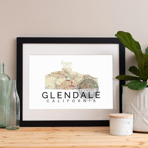 Glendale Print, Glendale Skyline, Glendale Art, Glendale Poster, Glendale Watercolor, Glendale Art Print, Glendale Map, Glendale Wall Art