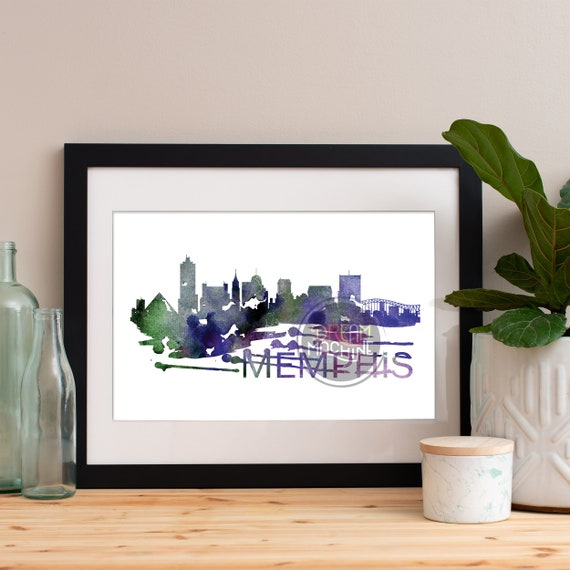 Memphis Watercolor Skyline, Memphis Skyline, Memphis Art, Memphis Poster, Memphis Print, Memphis Art, Memphis Map, Memphis Wall Art, Memphis