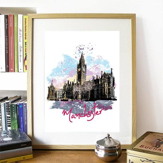 Manchester Print, Manchester Skyline, Manchester Art, Manchester Poster, Manchester Watercolor, Manchester Art Print, Manchester Map