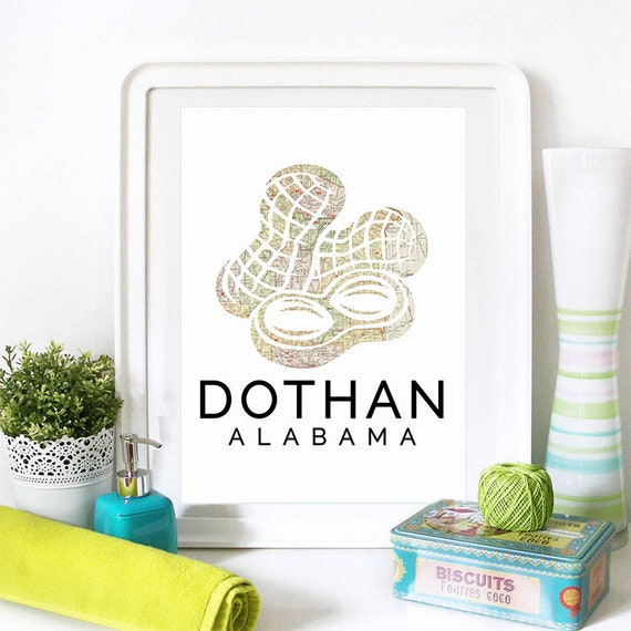 Dothan Print, Dothan Skyline, Dothan Art, Dothan Poster, Dothan Watercolor, Dothan Art Print, Dothan Map, Dothan Wall Art