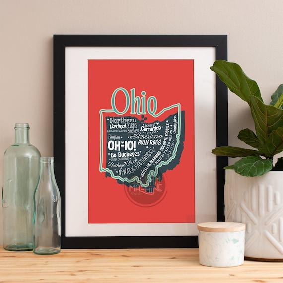 Ohio State Print Ohio Art Ohio Poster Ohio Print