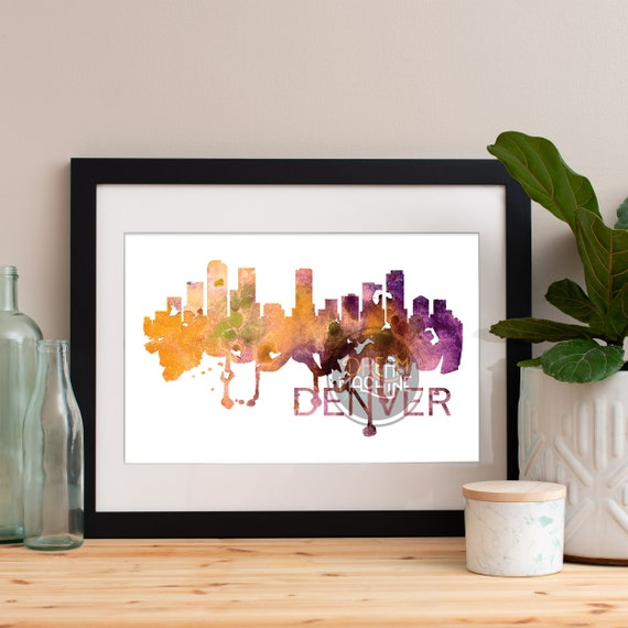 Denver Watercolor Skyline, Denver Skyline, Denver Art, Denver Poster, Denver Print, Denver Art, Denver Map, Denver Wall Art, Colorado Art