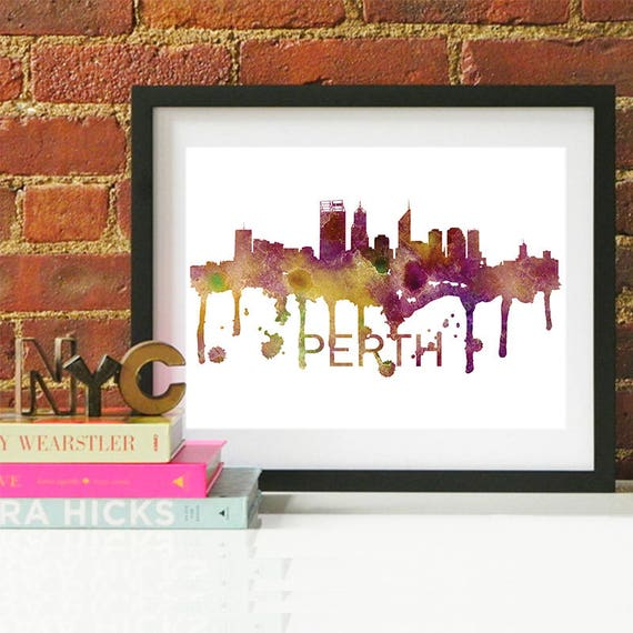Perth Watercolor Skyline, Perth Skyline, Perth Art, Perth Poster, Perth Print, Perth Art, Perth Map, Perth Wall Art, Scotland Art