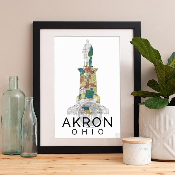 Akron Print, Akron Skyline, Akron Art, Akron Poster, Akron Watercolor, Akron Art Print, Akron Map, Akron Wall Art, Akron
