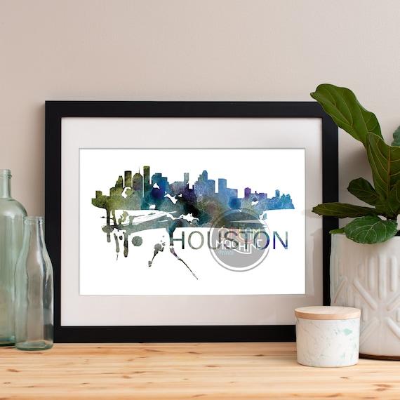 Houston Watercolor Skyline, Houston Skyline, Houston Art, Houston Poster, Houston Print, Houston Art, Houston Map, Houston Wall Art, Texas