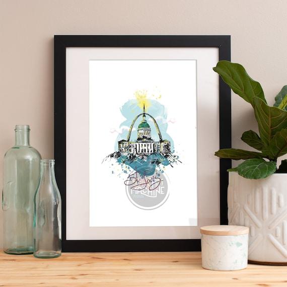 Saint Louis Print, Saint Louis Skyline, Saint Louis Art, Saint Louis Poster, Saint Louis Watercolor, Saint Louis Art Print, Saint Louis Map