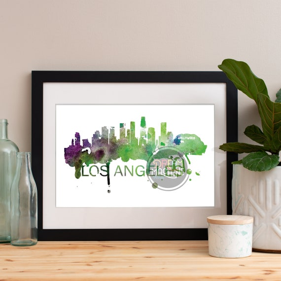 Los Angeles Watercolor Skyline, Los Angeles Skyline, Los Angeles Art, Los Angeles Poster, Los Angeles Print, Los Angeles Art, Los Angeles