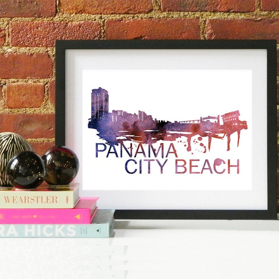Panama City Beach Watercolor Skyline, Panama City Beach Skyline, Panama City Beach Art, Panama City Beach Poster, Panama City Beach Print