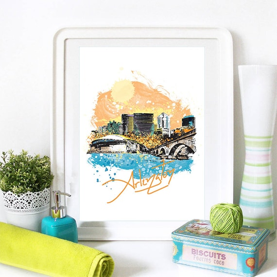 Arlington Print, Arlington Skyline, Arlington Art, Arlington Poster, Arlington Watercolor, Arlington Art Print, Arlington Map, Arlington Art