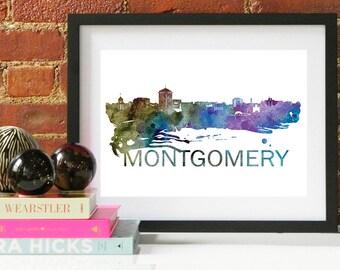 Montgomery Watercolor Skyline, Montgomery Watercolor Skyline, Montgomery Watercolor Art, Montgomery Watercolor Poster, Montgomery Print