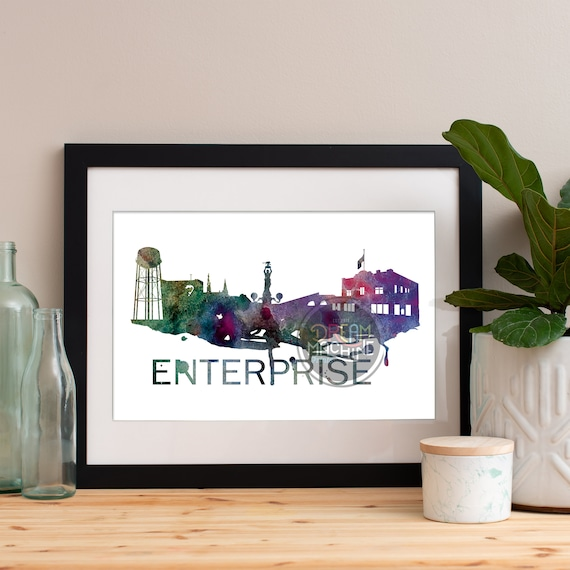Enterprise Watercolor Skyline Purple, Enterprise Skyline, Enterprise Art, Enterprise Poster, Enterprise Print, Enterprise Art, Enterprise