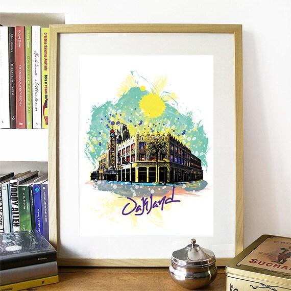 Oakland Print, Oakland Skyline, Oakland Art, Oakland Poster, Oakland Watercolor, Oakland Art Print, Oakland Map, Oakland Wall Art