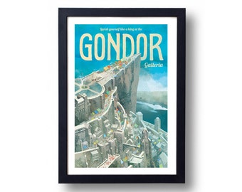 Lord of the Rings Poster Gondor Galleria Travel Poster, Lord of the Rings Art, Lord of the Rings, Gondor, LOTR Poster, LOTR Art, LOTR