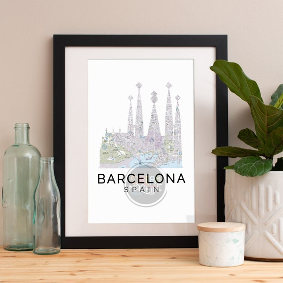 Barcelona Print, Barcelona Skyline, Barcelona Art, Barcelona Poster, Barcelona Watercolor, Barcelona Art Print, Barcelona Map, Barcelona