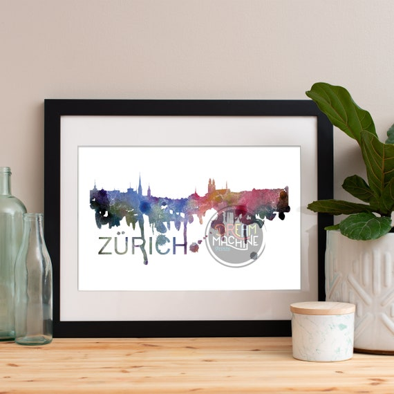 Zurich Watercolor Skyline, Zurich Skyline, Zurich Art, Zurich Poster, Zurich Print, Zurich Art, Zurich Map, Zurich Wall Art, Switzerland Art