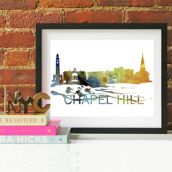 Chapel Hill Watercolor Skyline, Chapel Hill Skyline, Chapel Hill Art, Chapel Hill Poster, Chapel Hill Print, Chapel Hill Art, Wall Art