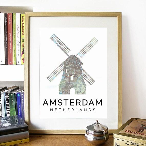 Amsterdam Print, Amsterdam Skyline, Amsterdam Art, Amsterdam Poster, Amsterdam Watercolor, Amsterdam Art Print, Amsterdam Map, Amsterdam