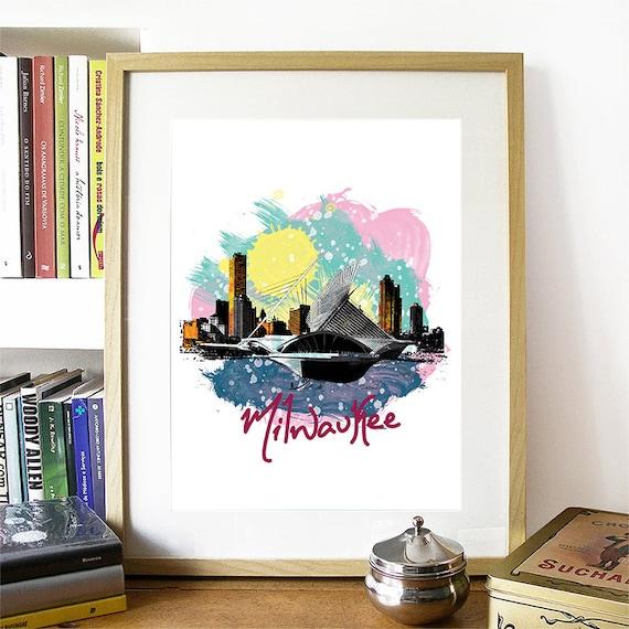 Milwaukee Print, Milwaukee Skyline, Milwaukee Art, Milwaukee Poster, Milwaukee Watercolor, Milwaukee Art Print, Milwaukee Map, Milwaukee