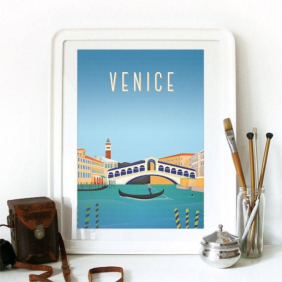 Venice Print, Venice Skyline, Venice Art, Venice Poster, Venice Watercolor, Venice Art Print, Venice Map, Venice Wall Art, Italy Art