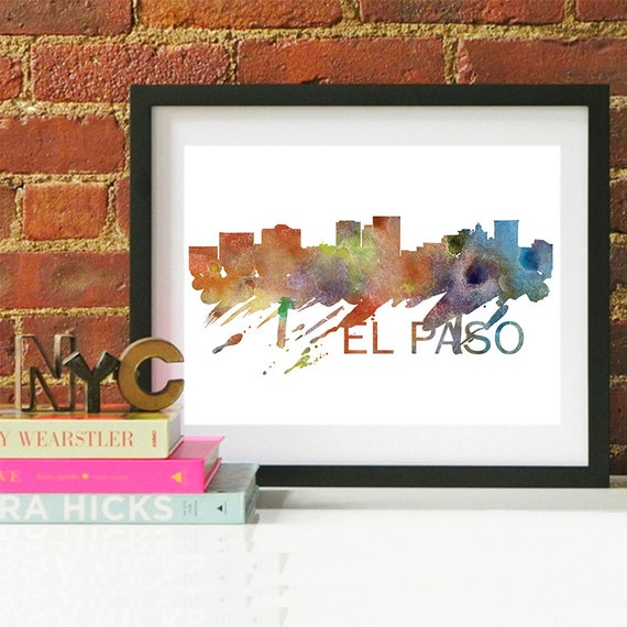 El Paso Watercolor Skyline, El Paso Skyline, El Paso Art, El Paso Poster, El Paso Print, El Paso Art, El Paso Map, El Paso Wall Art, Texas