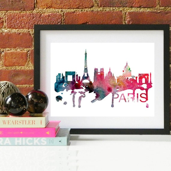 Paris Watercolor Skyline, Paris Skyline, Paris Art, Paris Poster, Paris Print, Paris Art, Paris Map, Paris Wall Art, France Art