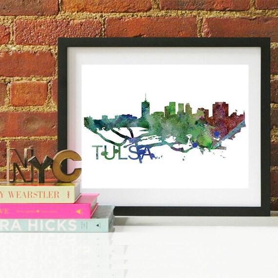 Tulsa Watercolor Skyline, Tulsa Skyline, Tulsa Art, Tulsa Poster, Tulsa Print, Tulsa Art, Tulsa Map, Tulsa Wall Art, Oklahoma Art