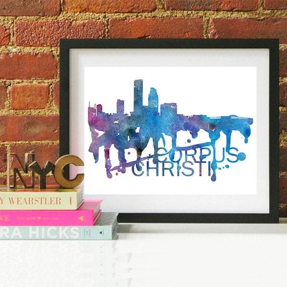 Corpus Christi Watercolor Skyline, Corpus Christi Skyline, Corpus Christi Art, Corpus Christi Poster, Corpus Christi Print, Corpus Christi