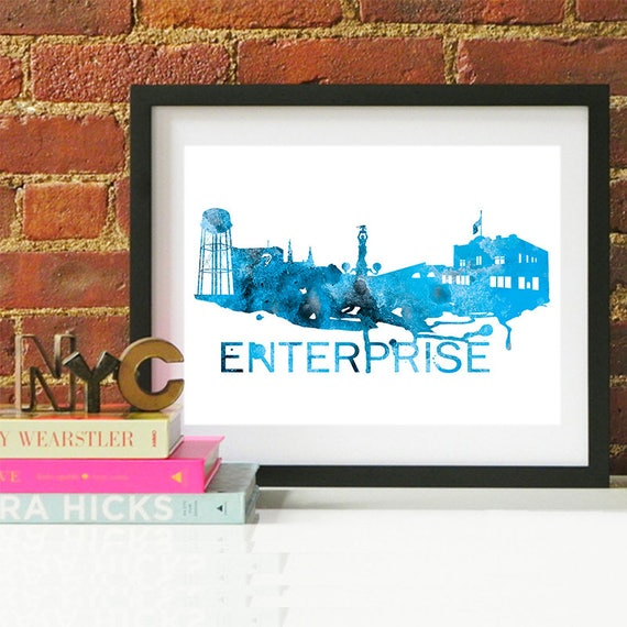 Enterprise Watercolor Skyline Blue, Enterprise Skyline, Enterprise Art, Enterprise Poster, Enterprise Print, Enterprise Art, Enterprise