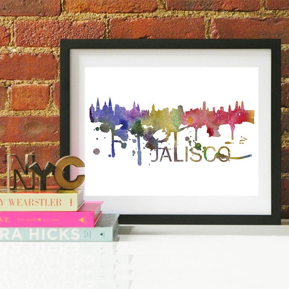 Jalisco Watercolor Skyline, Jalisco Skyline, Jalisco Art, Jalisco Poster, Jalisco Print, Jalisco Art, Jalisco Map, Jalisco Wall Art, Mexico