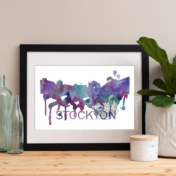 Stockton Watercolor Skyline, Stockton Skyline, Stockton Art, Stockton Poster, Stockton Print, Stockton Art, Stockton Map, Stockton Wall Art