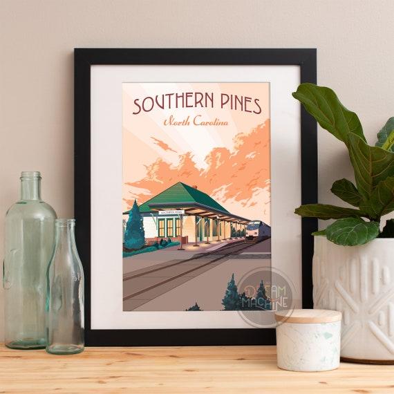 Southern Pines Print, Southern Pines Art, Southern Pines Poster, Southern Pines Art Print, Southern Pines Wall Art, North Carolina