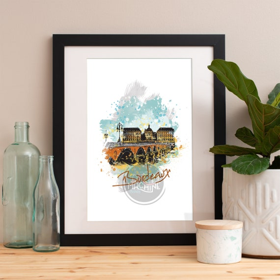 Bordeaux Print, Bordeaux Skyline, Bordeaux Art, Bordeaux Poster, Bordeaux Watercolor, Bordeaux Art Print, Bordeaux Map, Bordeaux Wall Art
