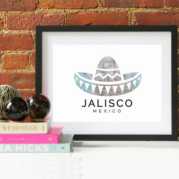 Jalisco Print, Jalisco Skyline, Jalisco Art, Jalisco Poster, Jalisco Watercolor, Jalisco Art Print, Jalisco Map, Jalisco Wall Art, Mexico