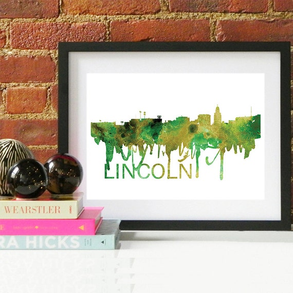 Lincoln Watercolor Skyline, Lincoln Skyline, Lincoln Art, Lincoln Poster, Lincoln Print, Lincoln Art, Lincoln Map, Lincoln Wall Art