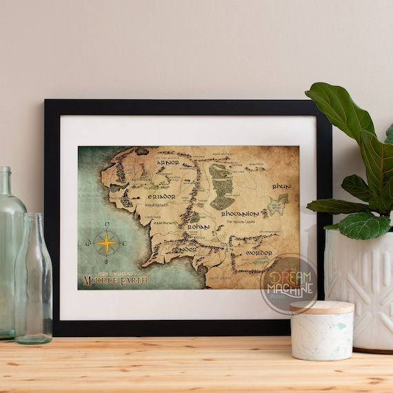 Lord of the Rings Poster Map of Middle Earth, Lord of the Rings, LOTR, Lord of the Rings Art, LOTR Map, Lord of the Rings Map