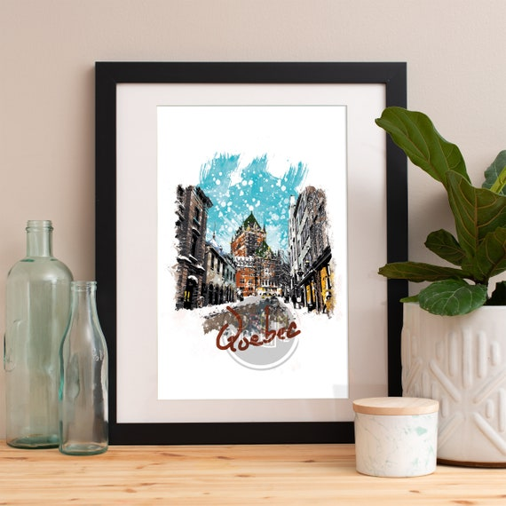 Quebec Print, Quebec Skyline, Quebec Art, Quebec Poster, Quebec Watercolor, Quebec Art Print, Quebec Map, Quebec Wall Art