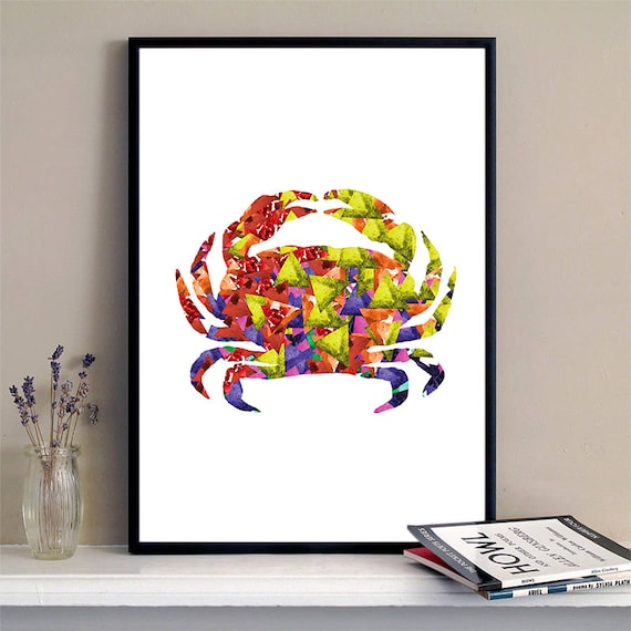Crab Print Watercolor Triangles