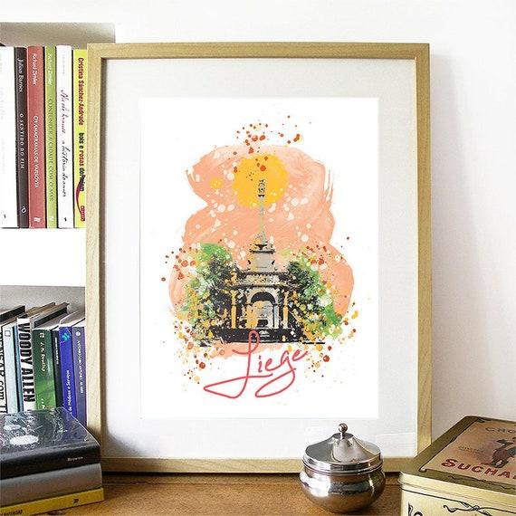Liege Print, Liege Skyline, Liege Art, Liege Poster, Liege Watercolor, Liege Art Print, Liege Map, Liege Wall Art, Liege Belgium