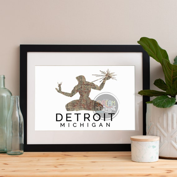 Detroit Print, Detroit Skyline, Detroit Art, Detroit Poster, Detroit Watercolor, Detroit Art Print, Detroit Map, Detroit Wall Art