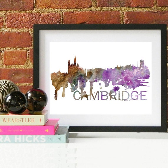 Cambridge Watercolor Skyline, Cambridge Skyline, Cambridge Art, Cambridge Poster, Cambridge Print, Cambridge Art, Cambridge Map, Cambridge